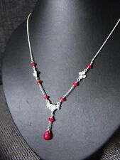 OOAK 925 STERLING SILVER NECKLACE FLOWER DAISY natural RUBY precious gemstone