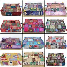 "18"" Square Patchwork Large Indian Floor Cushion Decorative Ethnic Pillow Cover"