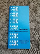 Waterman Machine and Manufacturing Co Flange Dimensions Specifications Booklet