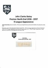 JOHN BATEY PRESTON NORTH END 1936-1937 RARE ORIGINAL HAND SIGNED CUTTING/CARD