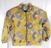 Vintage EVR Silk Abstract Gold Gray Bomber Jacket Front Zip Western Sz Large L