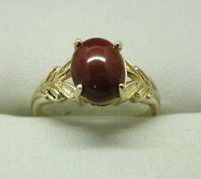 Very Nice 9 carat Gold Dark Carnelian Agate Ring Size N