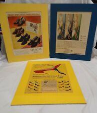 Set of 3 Vintage-Hoisery and Shoe Ad's -  Vitality, Kaufmanns, Realsilk