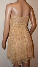 VICKY MARTIN gold sequin strapless mini dress BNWT 8 10 12 RRP£175 party wedding
