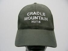 CRADLE MOUNTAIN HUTS - OLIVE GREEN - ONE SIZE ADJUSTABLE BALL CAP HAT!
