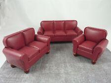 Dollhouse Miniature Burgundy Red Sofa & Chair Set, T2013