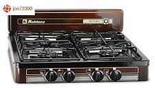 Portable Gas Stove 4-Burner Propane Camping Grill Cooker Outdoor Camp RV Kitchen
