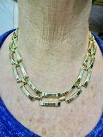 Vintage-Gold Tone 1950's Long Link Necklace Rectangle