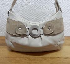 ORIANO soft cream leather and beige suede hobo handbag / shoulder bag