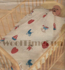 Knitting Pattern Baby Blanket/Cot Cover/Afghan.  Teddy/Boat/Horse/Heart/Pram.