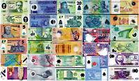LOTTO POLYMER - Lotto 15 banconote differenti in Polymer FDS - UNC nuovo
