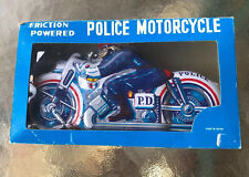 Vintage Friction Powered Police Motorcycle With Box