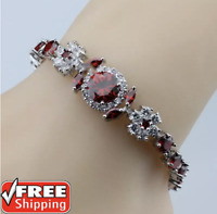 Red Garnet 925 Sterling Silver Tennis Gemstone Women Bracelet Chain Jewerlry