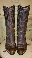 VINTAGE AUTHENTIC 60'S COWBOY WESTERN BOOTS DARK BROWN LEATHER 8 M POINTED TOE