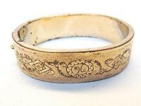 Victorian Antique Gold Filled Hinged Bangle Bracelet Talle d'Epargne Enamel