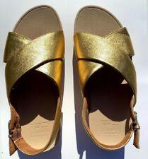 Fitflop Lulu Cross Artisan Gold Back Strap Sandals, Pre-owned, Women's Size 6