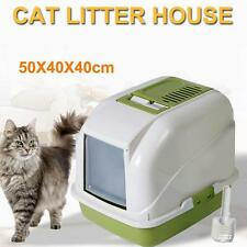 Portable Pet Kitten Cat Toilet Litter Tray Enclosed Hooded House w Door & Scoop.