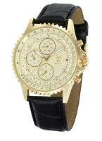 Mens Gold Dress Watch Black Leather Band Big Dial Day Date Reloj de Oro Hombres