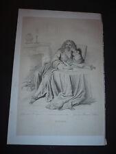 GRAVURE 1850 JEAN BAPTISTE POQUELIN MOLIERE