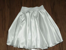 WHITE STRETCH SATIN CIRCLE SKIRT  SIZE 10-12, DANCE, THEATER, FORMAL, COSTUME