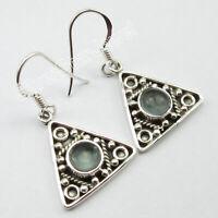 """Green Apatite Dangle Earrings 1.3"""" 925 Fine Silver SilverStarJewel Jewelry"""