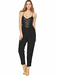 Love Label Jumpsuit Black Sequin Size 16 New with Tags