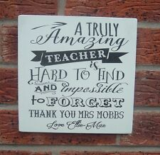shabby vintage chic personalised teacher children school leaving sign plaque 8x8