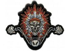 "(F6) INDIAN SKULL HEADDRESS Motorcycle Rider 4.25"" x 3.5"" iron on patch (4619)"
