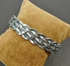 Unique 27G 925 Sterling Silver Wavy Braided Adjustable Open Bracelet Mens Unisex