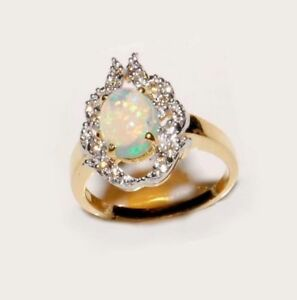 14 K. Solid Yellow Gold Natural Opal With Diamonds Gem Stone Ring