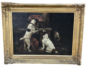 A Signed Victorian Oil On Canvas Of Dogs, By M Varley, Jack Russell Dogs.