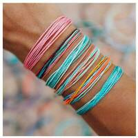 6Pcs Boho Ethnic Handmade Multicolor String Cord Woven Braided Bracelet Jewelry