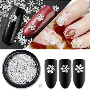 Mixed Nail Metal Flakes White Snowflakes DIY Christmas Decorations Slice