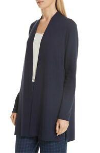 NEW Eileen Fisher Ultra Fine Merino Straight Long Cardigan Midnight size XL $318