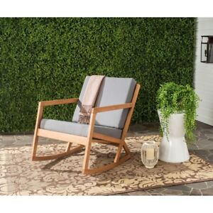 Rocking Chair Outdoor Patio Tan Cushion Weather Resistant Reversible Fast Drying