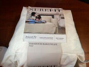 """Surefit Relaxed Fit Slipcover- Farmhouse - Sailcloth White- Fits Sofa 74-96"""""""