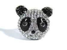 Crystal Panda Bear Head Ring Silver Tone Wildlife Cute Kawaii RD23 Zoo Animals F