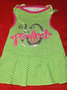 """SimplyDog ♡ LIME GREEN WHITE POLKA DOT """"10 PERFECT"""" DRESS ♡ SIZE SMALL ♡ SO CUTE"""