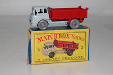 MATCHBOX LESNEY #3B BEDFORD TIPPER DUMP TRUCK, GREY CAB, RED DUMP, GPW, BOXED