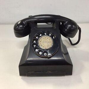 Vintage Black Bakelite Manual Dial Telephone #922