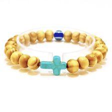 Cross  Evil Eye Wooden Bracelet Stretchy Mens Women's Bracelet Turquoise Blue RB