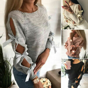 Women Long Sleeve Bowknot Hollow Out Sweater Jumper Loose Pullover Plus Tops