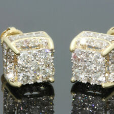 2018 Fashion White Sapphire Yellow Gold Plated Brilliant Screwback Stud Earrings