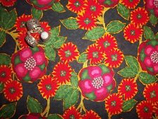 "By the Half Yard ""Paradiso"" Bold Red & Pink Floral on Black BTHY Blank Quilting"