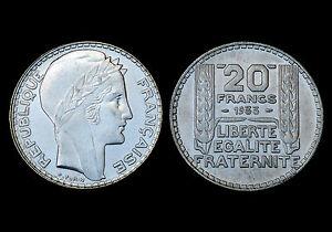 20 Francs 1933 Turin. Rameau long. Argent. Cote en SUP: 35€ / FDC: 120€