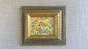 Antique Original MINIATURE Signed Framed OIL Painting  Floral STILL LIFE