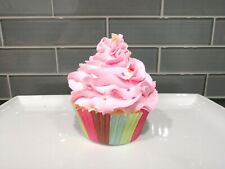 New Handmade Faux Fake Food Strawberry Pink Frosting Cupcake w Rainbow Sprinkles