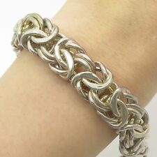 Italy Milor 925 Sterling Silver Wide Thick Byzantine Link Bracelet 6 3/4""