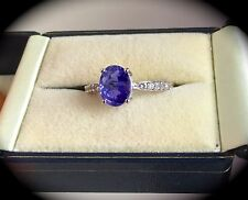 TANZANITE SILVER RING PREMIUM QUALITY!  'CERTIFIED AA' ' FAB COLOUR! HUGE 2.08CT