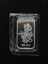 2013 1oz .999 Fine Silver Suisse Gold Year of the Snake Bar! Extremely Rare!